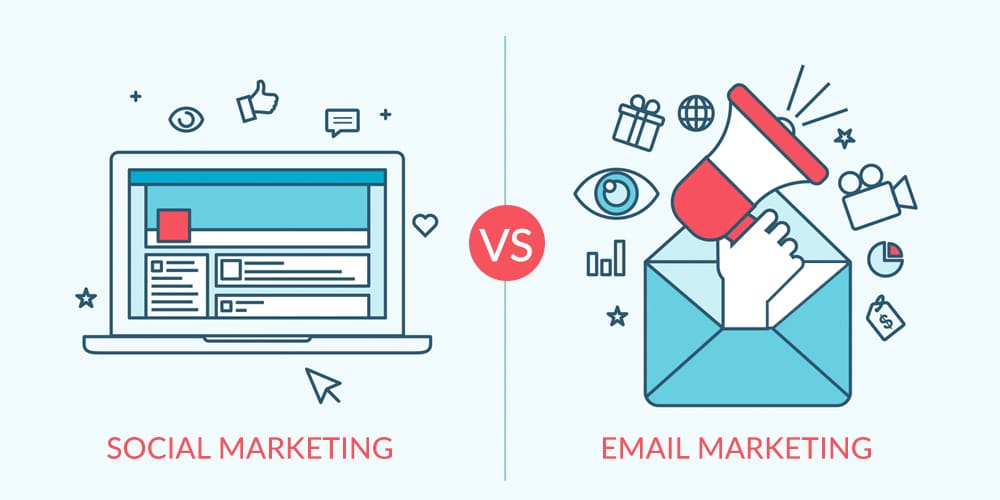 When creating a marketing strategy, is email marketing or social media marketing better? Social Media Marketing vs. Email Marketing; both offer different pros, they also have their own unique cons.